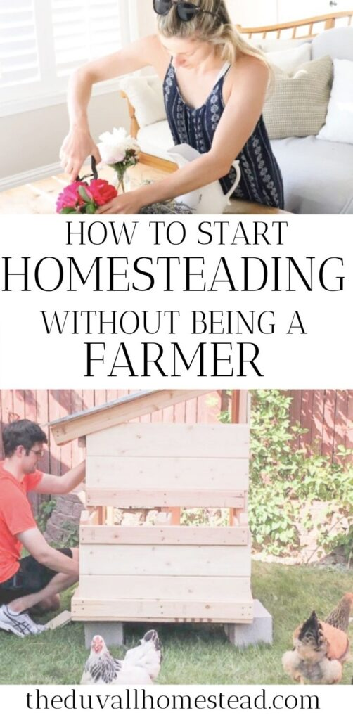 Maybe you're sitting in your city apartment or working in a corporate office dreaming of more space, more quiet, and a homestead life. I say, don't wait until you have your 10 acres to start homesteading. You can start making progress towards that dream today! Learn my top 3 ways to start homesteading small, even if you have no farming experience. That's what I did when I lived in an apartment!  #homesteading #naturalliving #farming #farmtotable #homesteadlifestlye #backtobasics #simpleliving #simplicity #minimalism #howtostartahomestead #suburbanfarming #backyardfarming #urbanfarmer