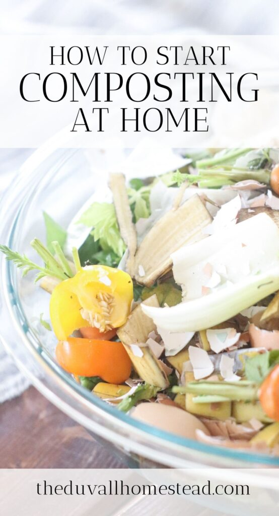 Learn how to turn everyday kitchen scraps into nutritious compost for your soil in this step by step tutorial on how to compost at home.   #composting #garden #nutrition #nutrients #kitchenscraps #food #backyardgardening #backyard #soil #gardening #compost #farming #homesteading #athome