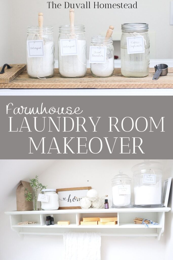 Join me for a farmhouse laundry room makeover where I transform a small space into an organized, beautiful one. Plus, get these free printable laundry labels!  #laundryroommakeover #makeover #farmhouse #homedecor #farmhousedecor #farmhouselaundryroom #laundry #labels