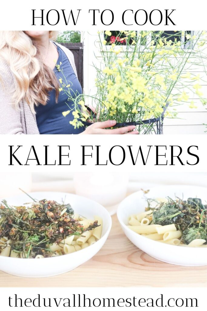 Learn how to cook a delicious summer kale pasta with your kale flowers. Pull them straight out of the garden and eat them raw or cooked with this simple recipe.  #kaleflowers #kale #florets #flowers #garden #pasta #recipe #howtocookkale #kaleflorets #kalerecipe #recipes #healthy #vegetarian #dinnerideas #dinner #food #foodie #goodfood #healthyfood