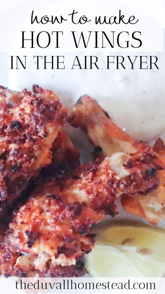 Crispy on the outside and tender on the inside, these air fryer hot wings are healthy and delicious, and only take about 20 minutes to cook. I was a bit skeptical about using the air fryer at first, but these hot wings have made a big exception in my book. Thanks to my husband John for providing this recipe while I am enjoying all the newborn cuddles with our new baby.  #hotwings #airfryer #airfryerchickenwings #chickenwings #easy #wings #chicken #healthydinner #dinnerrecipe #chickenrecipes #healthyrecipes #food