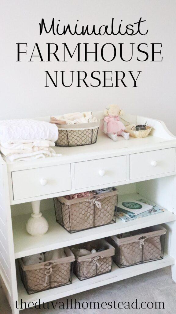 Join me for a minimalist farmhouse nursery tour!  #farmhouse #nursery #minimalist #simple #organization #baby