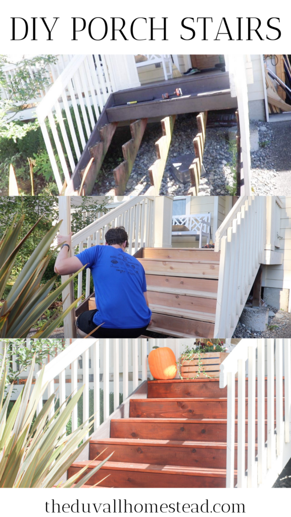 In this quick tutorial I show you how to build DIY porch steps and how to reinforce your old stringers. Just like new!  #porchsteps #frontporch #stairs #diyporchsteps #howtobuildsteps