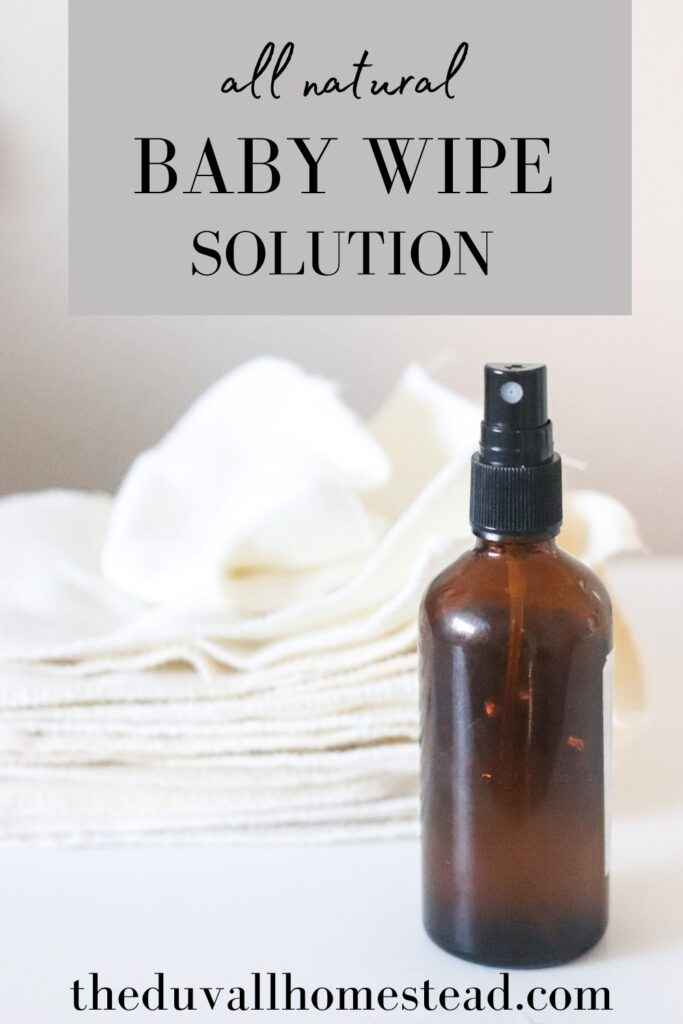 When I was pregnant I started planning our cloth diaper routine. That also meant making homemade baby wipes. Join me as I share how to make homemade baby wipe solution with coconut oil and witch hazel.   #babywipes #homemade #wipesolution #baby #clothdiapers #diapering #wipes #natural